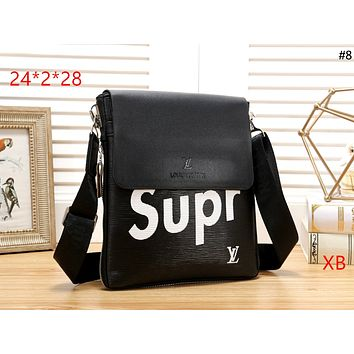 LV x Supreme new tide brand flip briefcase shoulder bag #8