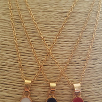 Dainty jewelry Gold plated necklace small 4 leaf clover charm/pendant necklace