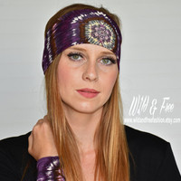 Yoga headband, Purple Eggplant Headband, Workout Fitness headband,Ladies fashion headband,Womens stretch fabric headwrap, Wide boho headband