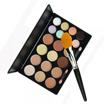 【Buy 1 Get 1 FREE 】20-Color Concealer Palette Set + Foundation Brush Womens Gift