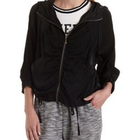 Black Drawstring Hooded Jacket with Pockets by Charlotte Russe