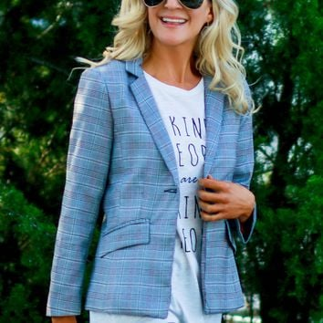 Plaid Blazer Black