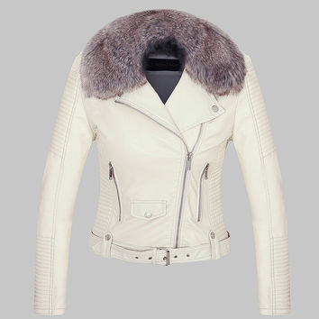 2017 Hot Women winter Warm coat faux leather jacket with Fur collar fur lined white black pink motorcycle jacket biker jacket