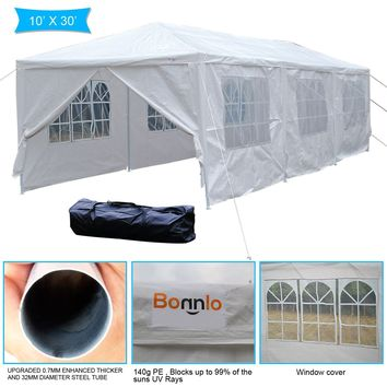 VINGLI Upgraded Heavy Duty 10'x30' Canopy Wedding Party Tent with 8 Removable Sidewalls,Outdoor Sunshade Winter Snow Shelter Event Gazebo Carport,W/ Carrying Case Bag White