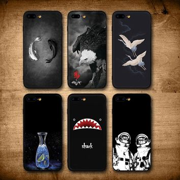 IIOZO For iPhone 7 8 8 Plus Case Cool Fishes Shark Eagle Cat Man Bottle Hard Silicone Black Back Cover For iPhone 8 Phone Cases