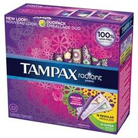 Tampax Radiant Plastic Duopack (Regular/Super) Absorbency Tampons - 32 Count