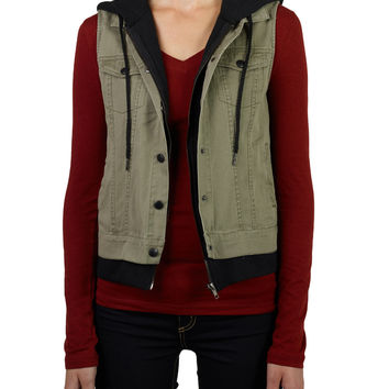 Womens Anorak Vest with Knit Hoodie