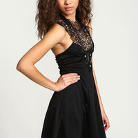 Black Bejeweled High Neck Flare Dress - LoveCulture