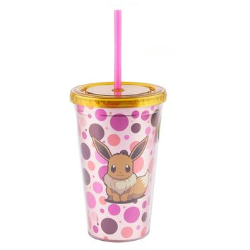 Pokemon OFFICIAL Eevee PREMIUM Tumbler Travel Cup, 16oz Gold/Pink (BPA-Free)