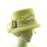 Vintage Style Cloche Hat - 1920s Straw Hat - Yellow Hat