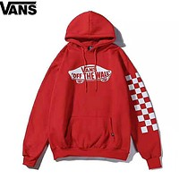 VANS New fashion bust letter print and sleeve plaid print thick keep warm hooded long sleeve sweater top Red