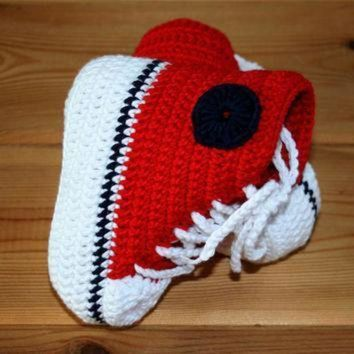 ICIKGQ8 handmade baby crochet converse style high top booties in red white navy blue bamboo