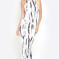 Tie Dye Back Cutout Maxi Dress