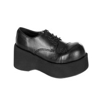 Black Faux Leather Oxford Platform Wedges