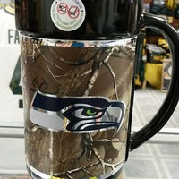 NEW!!!!!!  NFL Seattle Seahawks 15oz RealTree Camouflage Mug with Hi-Def  Wrap