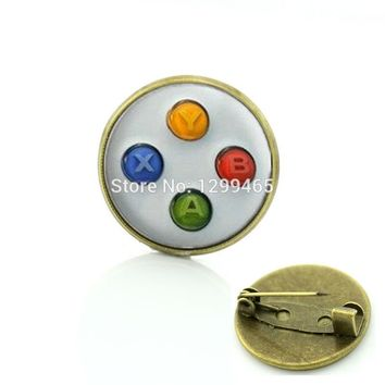 Retro ethnic style game controller brooches men and women hipster accessories  badge video game controller pins C 1115