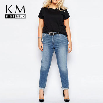 Kissmilk Plus Size New Fashion Women Big Size Denim Style Big Size Hole Casual Skinny Pants 3XL 4XL 5XL 6XL