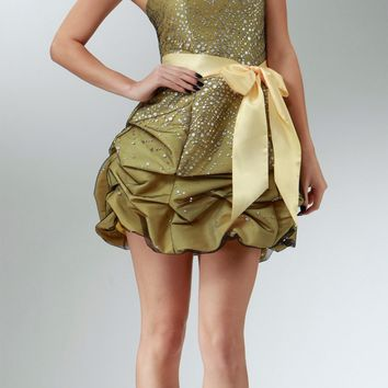 CLEARANCE LIMITED STOCK - Short Strapless Yellow Prom Cocktail Dress Ribbon Bow Bubble Hem Ruched Glitter