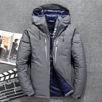 New Hot Sale Windproof Down Jacket Men Warm Hooded Winter Jacket Brand High Quality Smart Casual White Duck Down Coat