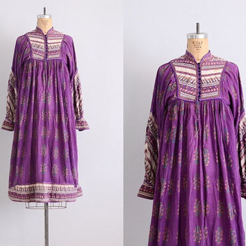 papillon • vintage 1970s Indian dress • India gauze dress • hippie dress • 70s bohemian dress