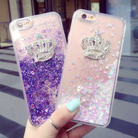 Crystal Crown Quicksand Best Protection iPhone 7 7 Plus & iPhone 6 6s Plus Case Personal Tailor Cover-0321