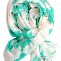 Sea Map Wool-Silk Scarf