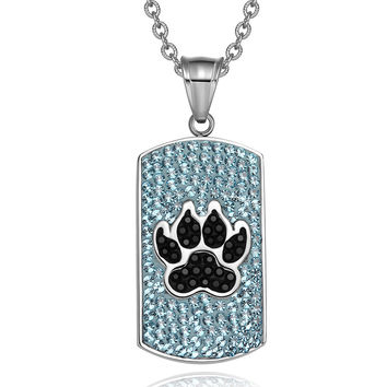 Wolf Paw Austrian Crystals Amulet Protection Powers Aqua Blue Jet Black Dog Tag Pendant 22 Inch Necklace