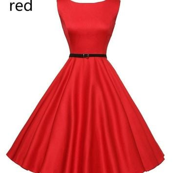 Women's Boat Neck Sleeveless Vintage Cocktail Party Dress with Belt
