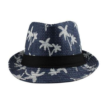 VONE05D new Sun shade hat couple beach sun hat coconut pattern men and women sunscreen jazz hats spring summer