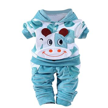 Newborn Baby Girls Boys Cartoon Cow Warm Outfits Clothes Velvet Hooded Tops Set Baby clothes winter hat winter costume