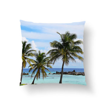 Playa Chen Rio - Throw Pillow Cover, Beach Style Palm Trees Accent, Blue Green Surf Tropical Home Decor. In 14x14 16x16 18x18 20x20 26x26