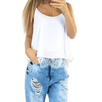 Summer Camis Women Summer Crop Top Ladies Sexy Sleeveless Casual Chiffon Tops Vest Shirt Women Lace Patchwork Shirts Cropped #YL