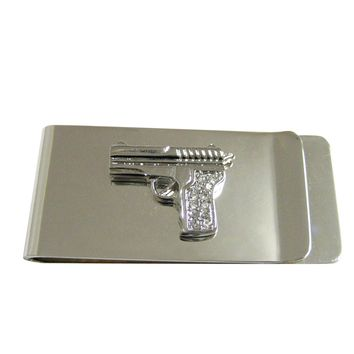 Silver Toned Crystalled Gun Money Clip