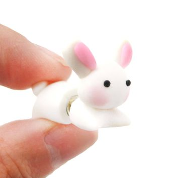 Handmade Bunny Rabbit Animal Fake Gauge Polymer Clay Stud Earring | DOTOLY