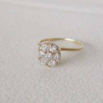 14k Estate Antique Vintage Ring Natural Diamonds Solid Gold Art Deco Edwardian Georgian Ballerina Flower Cluster Dainty Engagement Princess