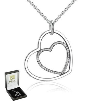 Heart Inside Heart Necklace 925 Sterling Silver Love Pendant - Elegant Gift Box