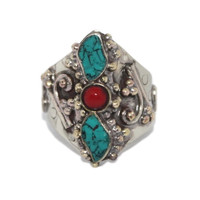 boho Adjustable Turquoise Coral ring