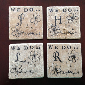 Set of Four Personalized Family Rules Coasters