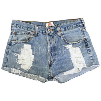 Distressed High Waisted Shorts Vintage Style Levis Wrangler Cutoff Low Rise Ripped Rolled Shorts