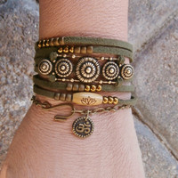 Lotus, Om Vegan Suede wrap with Brass Ox wrap, Boho chic wrap,  Yoga wrap bracelet,  Reiki Charged, free shipping