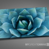 Large Wall Art Blue Agave Flower Canvas Print | Stretched on Deep 3cm Frame | Ready to Hang