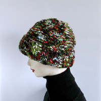 Slouchy Hat Knit in Shades of Green - Fall Winter Fashion - Teens Women Accessories - Oversized Beanie - Chunky Beret - Rustic