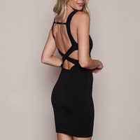 BLACK CAGE BACK TEXTURED BODYCON DRESS
