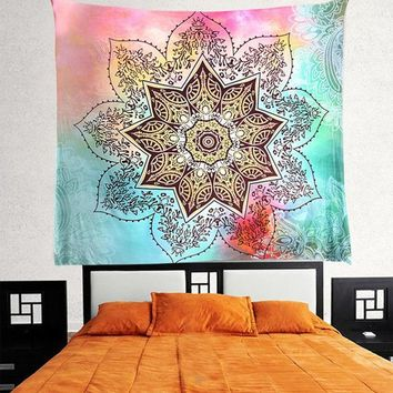 Indian Flower Colored Mandala Tapestry Bohemian Wall Art Or Bed Spread