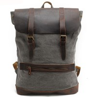 Real Leather Splicing Thick Canvas Outdoor Hiking Backpack Retro Large Camping Cylinder Rucksack