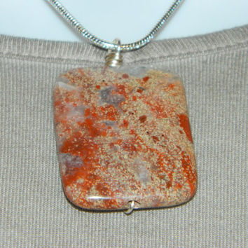 110ct. Red and Tan Mixed Stone, Semi Precious, Agate, Pendant, Necklace, Rectangle, Natural Stone, 137-15