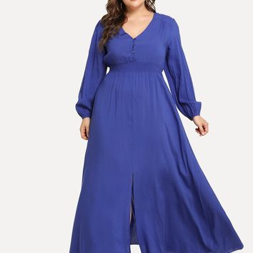 Plus Button Front Shirred Waist Dress