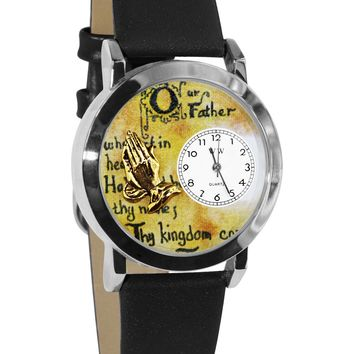 Lord's Prayer Black Leather And Silvertone Watch