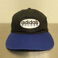 Vintage 90's Adidas Soccer Official Product Strapback Dad Hat Retro Sportswear Hip Hop Street Wear