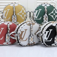 """Louis Vuitton""Fashion Cute Lively Color Multicolor Print Small Round Package Women Small Bag Crossbody Bag"